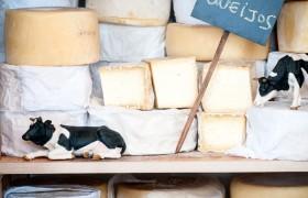 Nossa cave climatizada de queijos, que podem ser comprados por diferentes níveis de maturação.